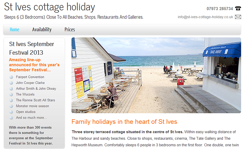 St Ives Cottage Holiday website with simple CMS.
